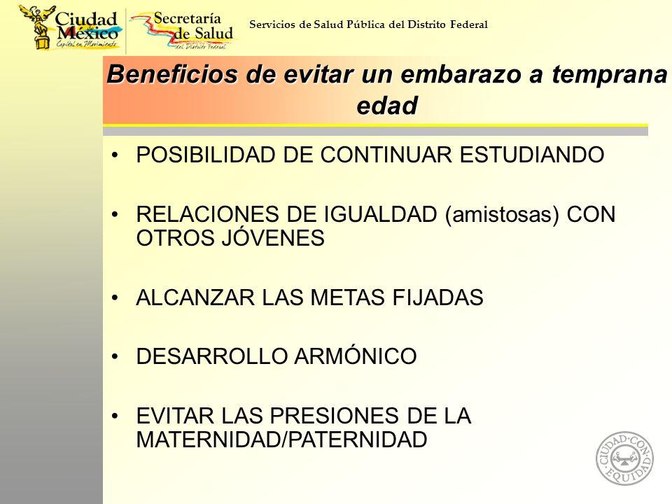 Servicios de Salud Pública del Distrito Federal Beneficios de evitar un embarazo a temprana edad POSIBILIDAD DE CONTINUAR ESTUDIANDO RELACIONES DE IGU