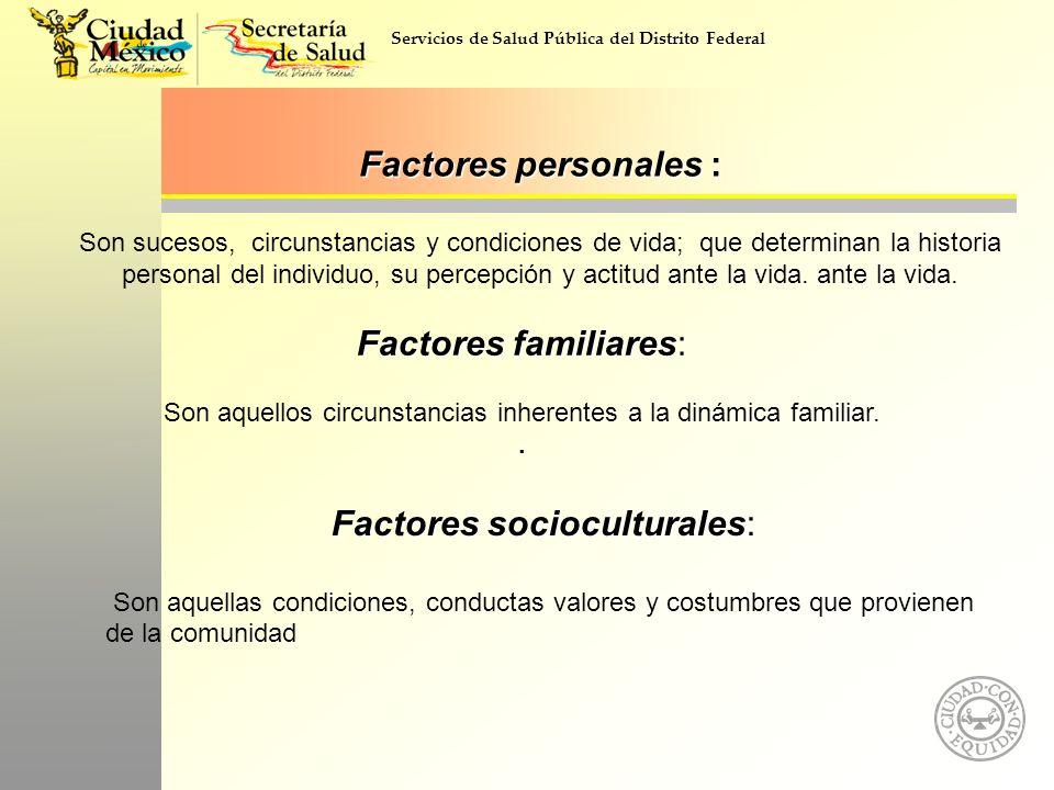 Servicios de Salud Pública del Distrito Federal Factores personales : Factores personales : Son sucesos, circunstancias y condiciones de vida; que det