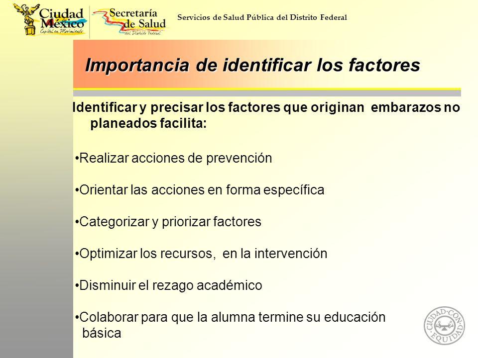 Servicios de Salud Pública del Distrito Federal Importancia de identificar los factores Identificar y precisar los factores que originan embarazos no