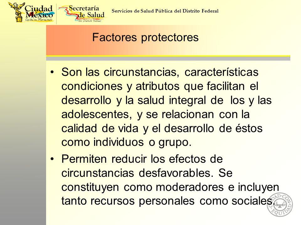 Servicios de Salud Pública del Distrito Federal Factores protectores Son las circunstancias, características condiciones y atributos que facilitan el