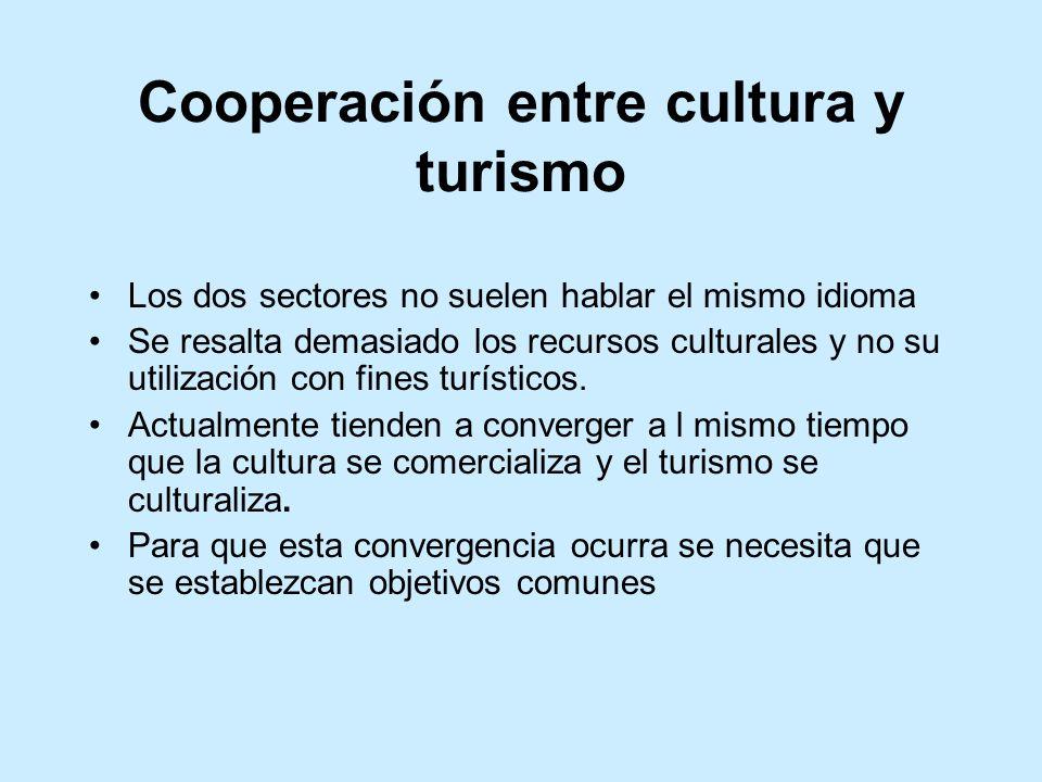 Cooperación entre cultura y turismo Los dos sectores no suelen hablar el mismo idioma Se resalta demasiado los recursos culturales y no su utilización