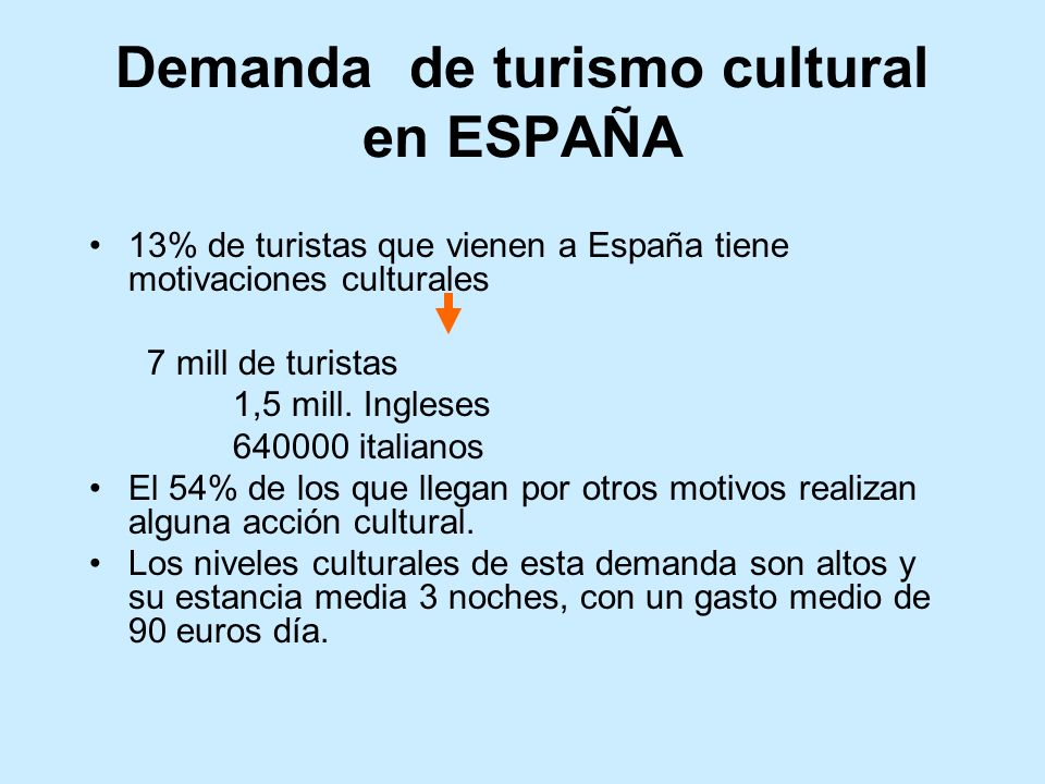 Demanda de turismo cultural en ESPAÑA 13% de turistas que vienen a España tiene motivaciones culturales 7 mill de turistas 1,5 mill. Ingleses 640000 i