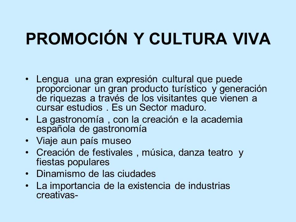 PROMOCIÓN Y CULTURA VIVA Lengua una gran expresión cultural que puede proporcionar un gran producto turístico y generación de riquezas a través de los