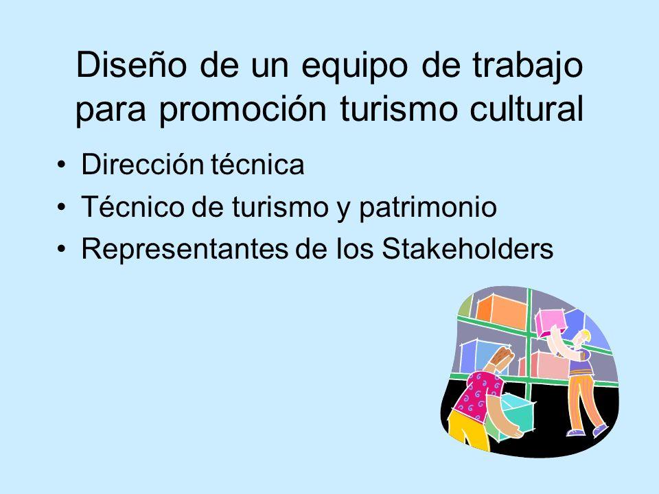 Diseño de un equipo de trabajo para promoción turismo cultural Dirección técnica Técnico de turismo y patrimonio Representantes de los Stakeholders
