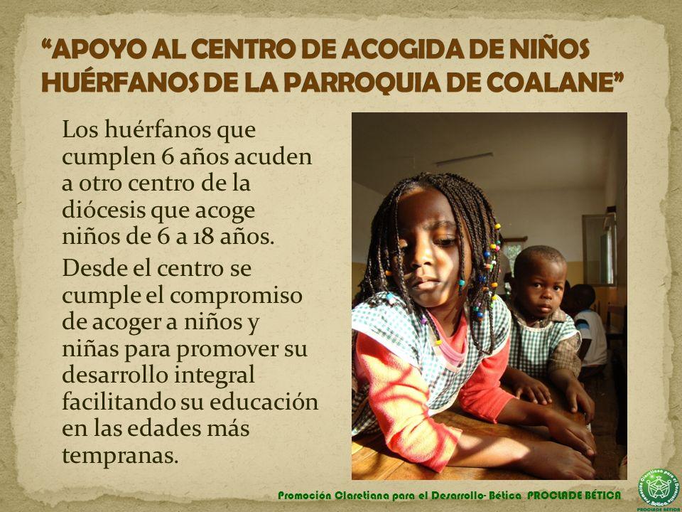 Los huérfanos que cumplen 6 años acuden a otro centro de la diócesis que acoge niños de 6 a 18 años. Desde el centro se cumple el compromiso de acoger
