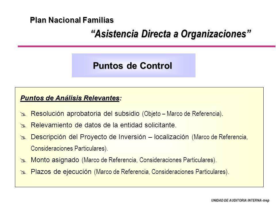 UNIDAD DE AUDITORIA INTERNA-mep Plan Nacional Familias Asistencia Directa a Organizaciones Puntos de Análisis Relevantes: Resolución aprobatoria del subsidio (Objeto – Marco de Referencia).