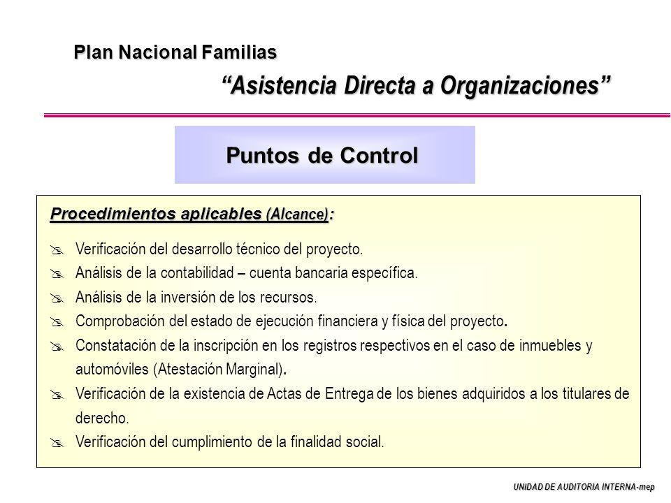 UNIDAD DE AUDITORIA INTERNA-mep Plan Nacional Familias Asistencia Directa a Organizaciones Procedimientos aplicables (Alcance) : Verificación del desarrollo técnico del proyecto.