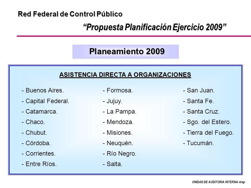 UNIDAD DE AUDITORIA INTERNA-mep Red Federal de Control Público Planeamiento 2009 Propuesta Planificación Ejercicio 2009 ASISTENCIA DIRECTA A ORGANIZACIONES - Buenos Aires.
