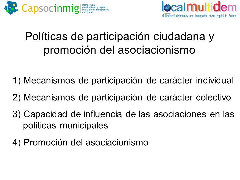 1) Mecanismos de participación de carácter individual 2) Mecanismos de participación de carácter colectivo 3) Capacidad de influencia de las asociaciones en las políticas municipales 4) Promoción del asociacionismo