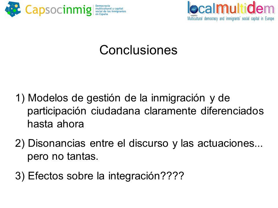 Conclusiones 1) Modelos de gestión de la inmigración y de participación ciudadana claramente diferenciados hasta ahora 2) Disonancias entre el discurso y las actuaciones...