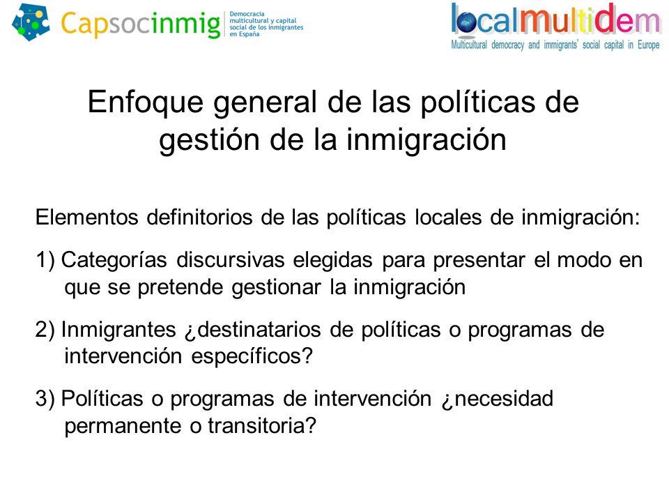 Enfoque general de las políticas de gestión de la inmigración Elementos definitorios de las políticas locales de inmigración: 1) Categorías discursivas elegidas para presentar el modo en que se pretende gestionar la inmigración 2) Inmigrantes ¿destinatarios de políticas o programas de intervención específicos.