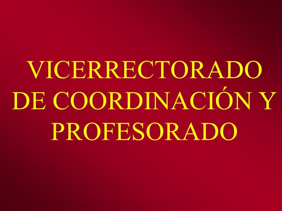 VICERRECTORADO DE COORDINACIÓN Y PROFESORADO