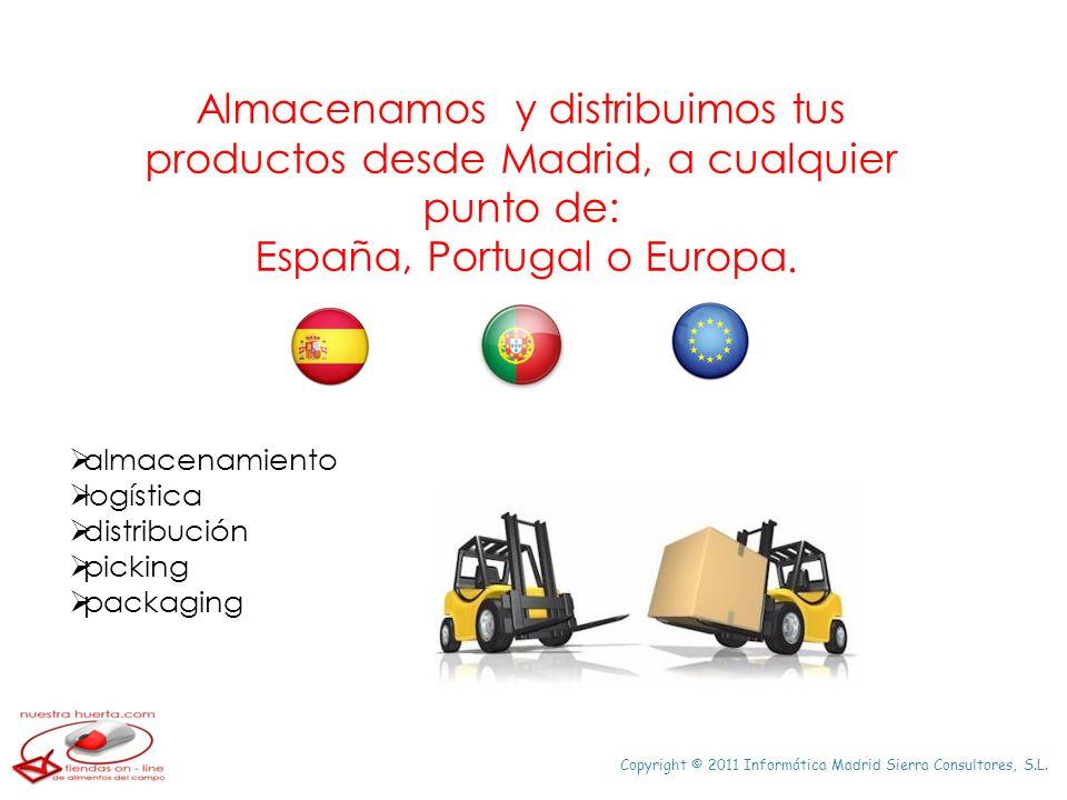 Copyright © 2011 Informática Madrid Sierra Consultores, S.L. Almacenamos y distribuimos tus productos desde Madrid, a cualquier punto de: España, Port