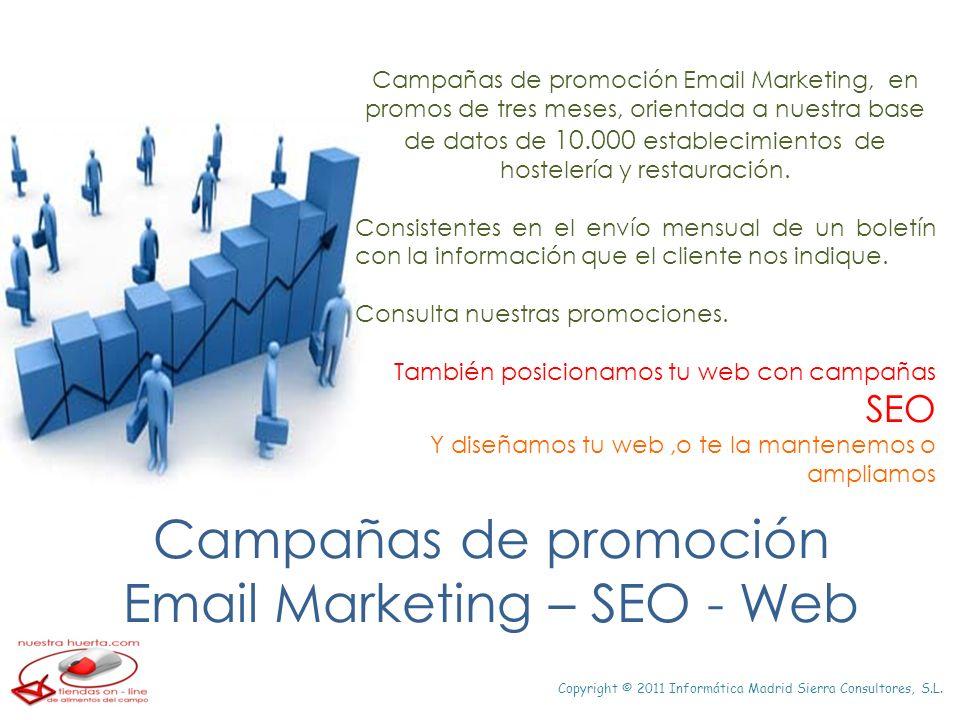 Copyright © 2011 Informática Madrid Sierra Consultores, S.L. Campañas de promoción Email Marketing – SEO - Web Campañas de promoción Email Marketing,