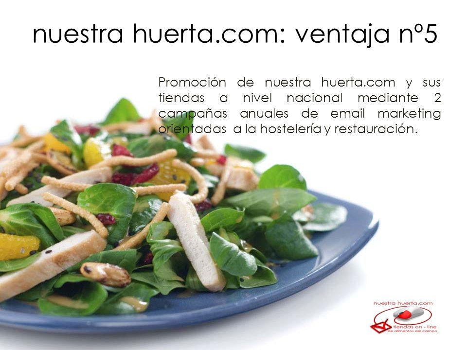 Promoción de nuestra huerta.com y sus tiendas a nivel nacional mediante 2 campañas anuales de email marketing orientadas a la hostelería y restauración.
