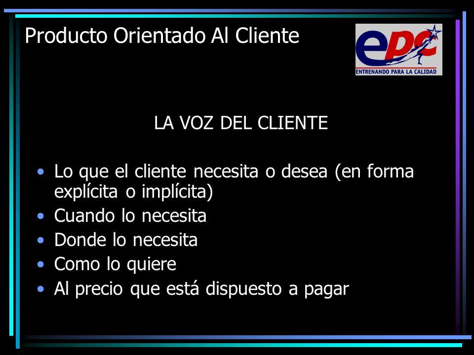 Producto Orientado Al Cliente LA VOZ DEL CLIENTE Lo que el cliente necesita o desea (en forma explícita o implícita) Cuando lo necesita Donde lo neces