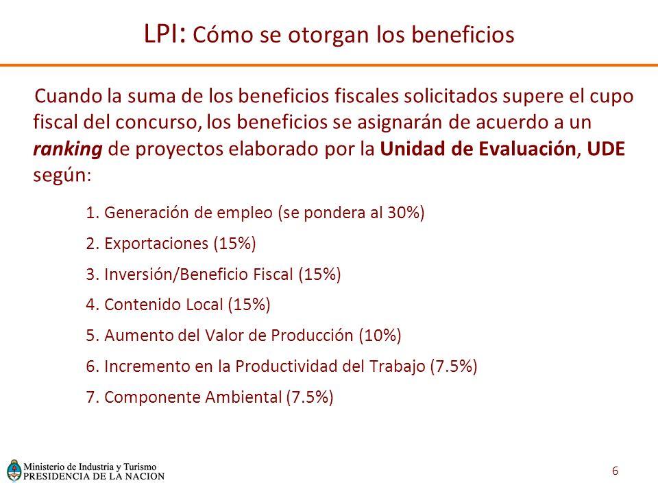 6 Cuando la suma de los beneficios fiscales solicitados supere el cupo fiscal del concurso, los beneficios se asignarán de acuerdo a un ranking de proyectos elaborado por la Unidad de Evaluación, UDE según : 1.Generación de empleo (se pondera al 30%) 2.Exportaciones (15%) 3.Inversión/Beneficio Fiscal (15%) 4.Contenido Local (15%) 5.Aumento del Valor de Producción (10%) 6.Incremento en la Productividad del Trabajo (7.5%) 7.Componente Ambiental (7.5%) LPI : Cómo se otorgan los beneficios