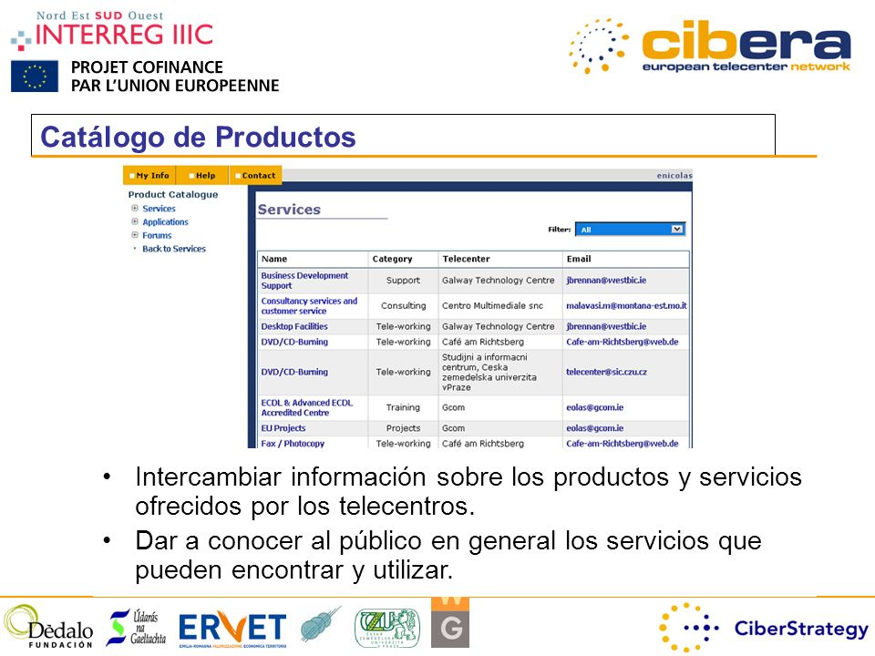 Catálogo de Productos Intercambiar información sobre los productos y servicios ofrecidos por los telecentros.