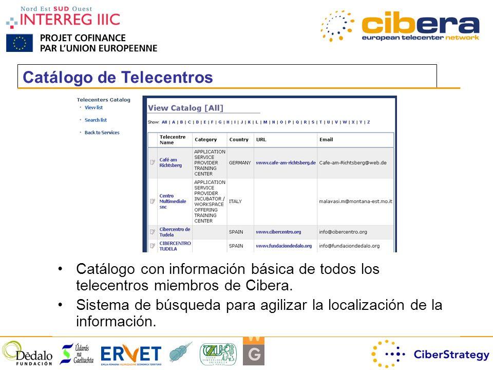 Catálogo de Telecentros Catálogo con información básica de todos los telecentros miembros de Cibera.