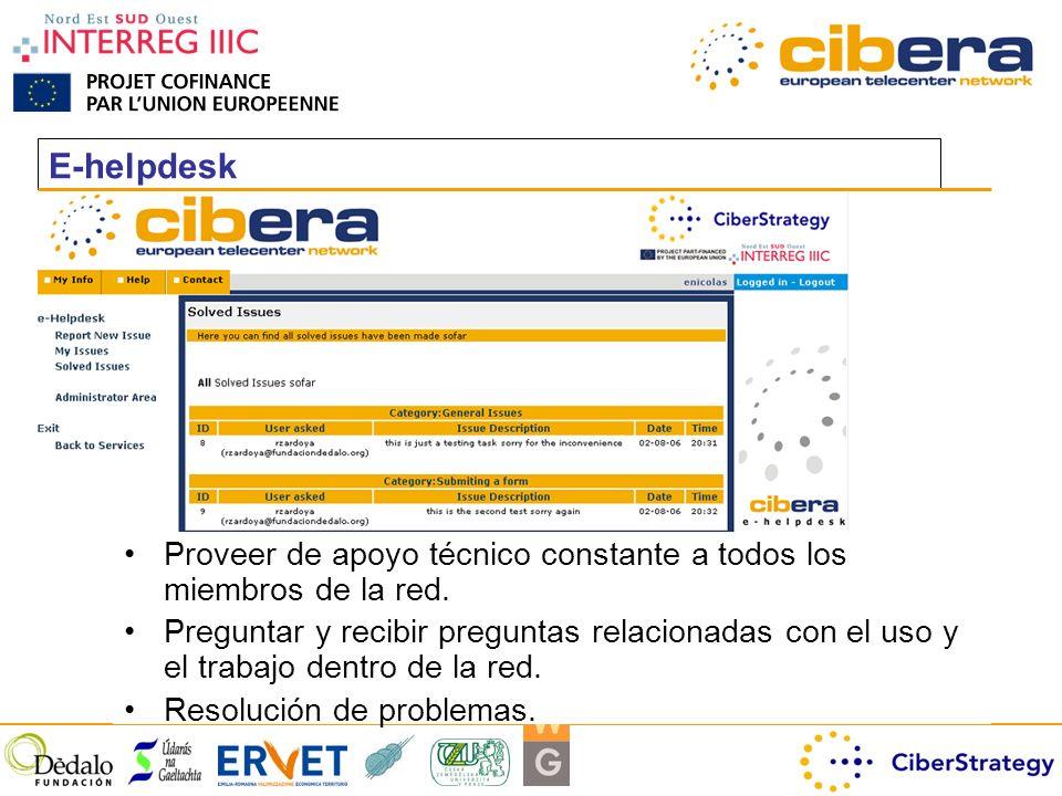 E-helpdesk Proveer de apoyo técnico constante a todos los miembros de la red.