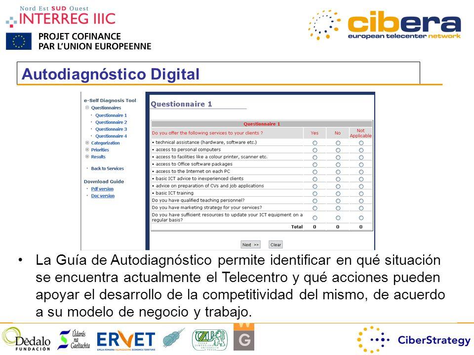 Autodiagnóstico Digital La Guía de Autodiagnóstico permite identificar en qué situación se encuentra actualmente el Telecentro y qué acciones pueden apoyar el desarrollo de la competitividad del mismo, de acuerdo a su modelo de negocio y trabajo.