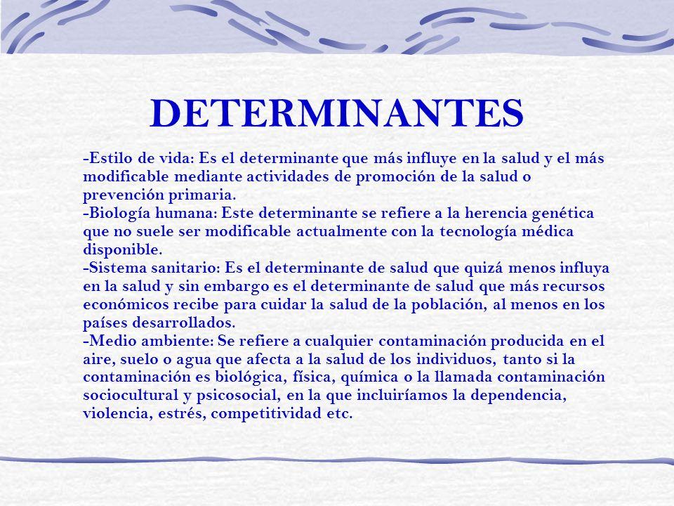 DETERMINANTES -Estilo de vida: Es el determinante que más influye en la salud y el más modificable mediante actividades de promoción de la salud o pre