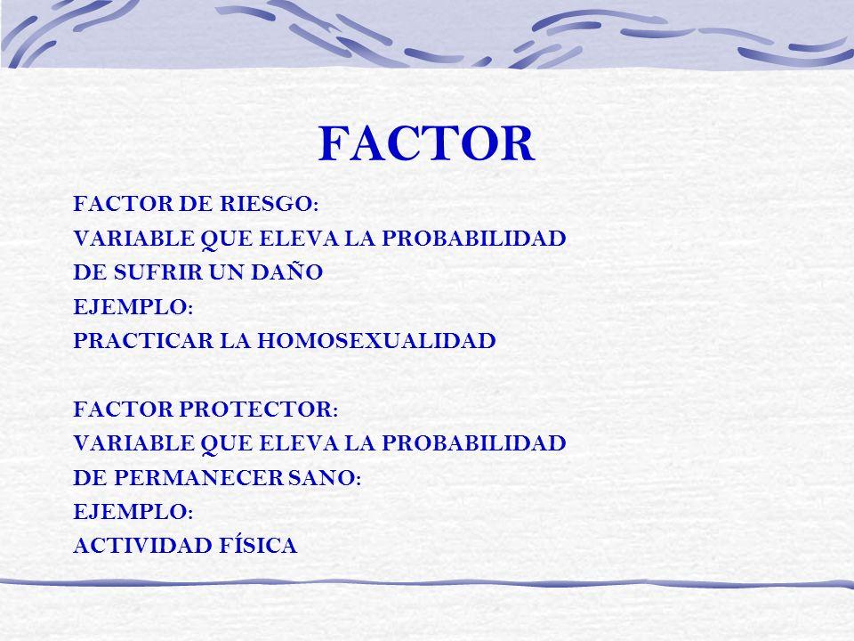 FACTOR FACTOR DE RIESGO: VARIABLE QUE ELEVA LA PROBABILIDAD DE SUFRIR UN DAÑO EJEMPLO: PRACTICAR LA HOMOSEXUALIDAD FACTOR PROTECTOR: VARIABLE QUE ELEV