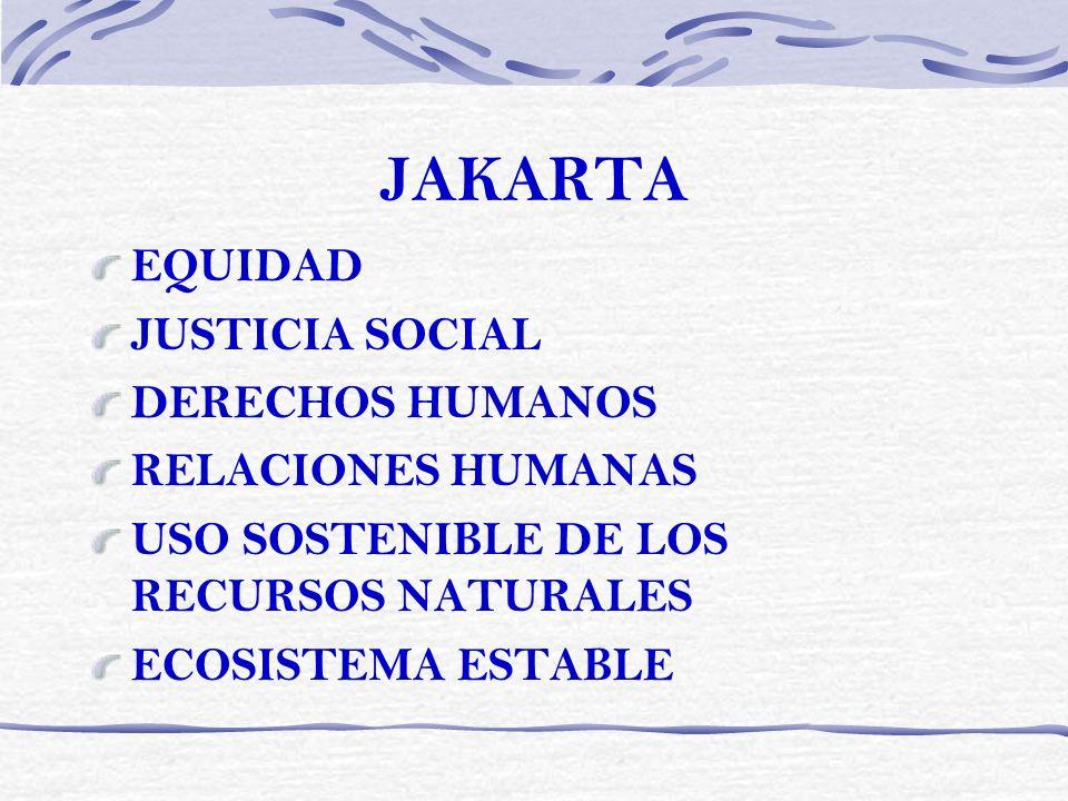 JAKARTA EQUIDAD JUSTICIA SOCIAL DERECHOS HUMANOS RELACIONES HUMANAS USO SOSTENIBLE DE LOS RECURSOS NATURALES ECOSISTEMA ESTABLE