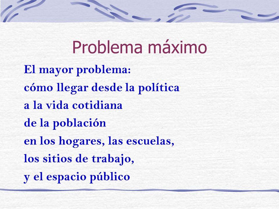 Problema máximo El mayor problema: cómo llegar desde la política a la vida cotidiana de la población en los hogares, las escuelas, los sitios de traba