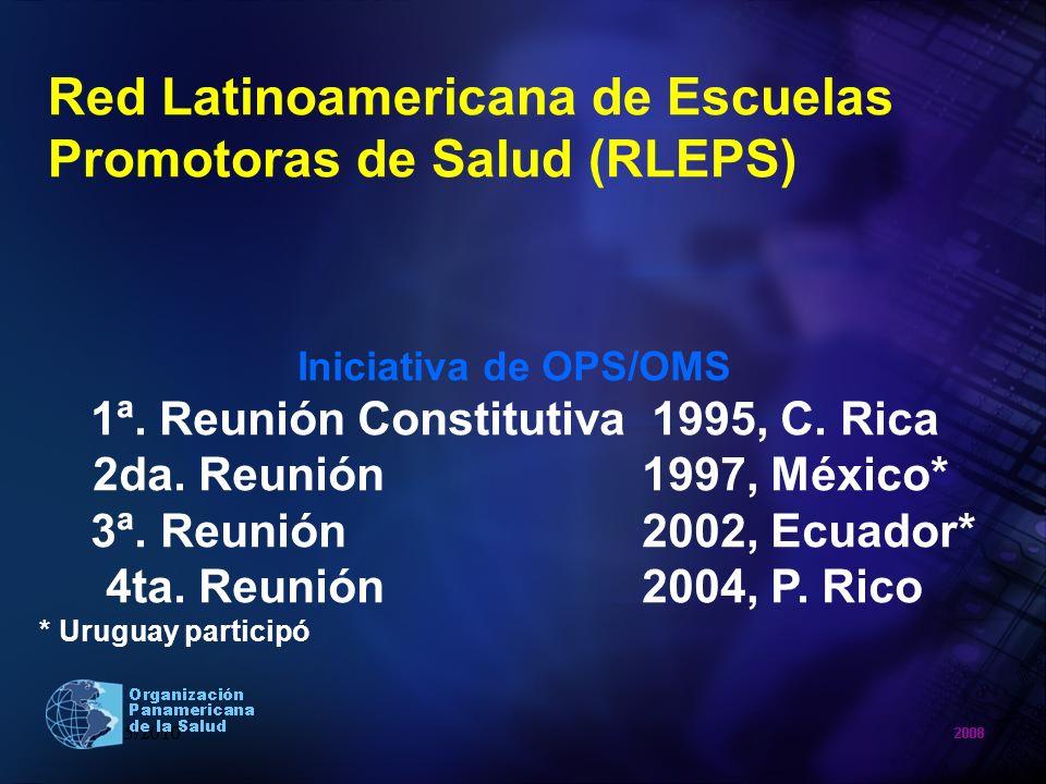 Red Latinoamericana de Escuelas Promotoras de Salud (RLEPS) Iniciativa de OPS/OMS 1ª. Reunión Constitutiva 1995, C. Rica 2da. Reunión 1997, México* 3ª
