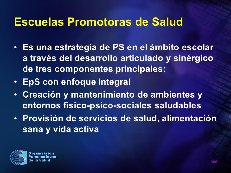 Escuelas Promotoras de Salud Es una estrategia de PS en el ámbito escolar a través del desarrollo articulado y sinérgico de tres componentes principal