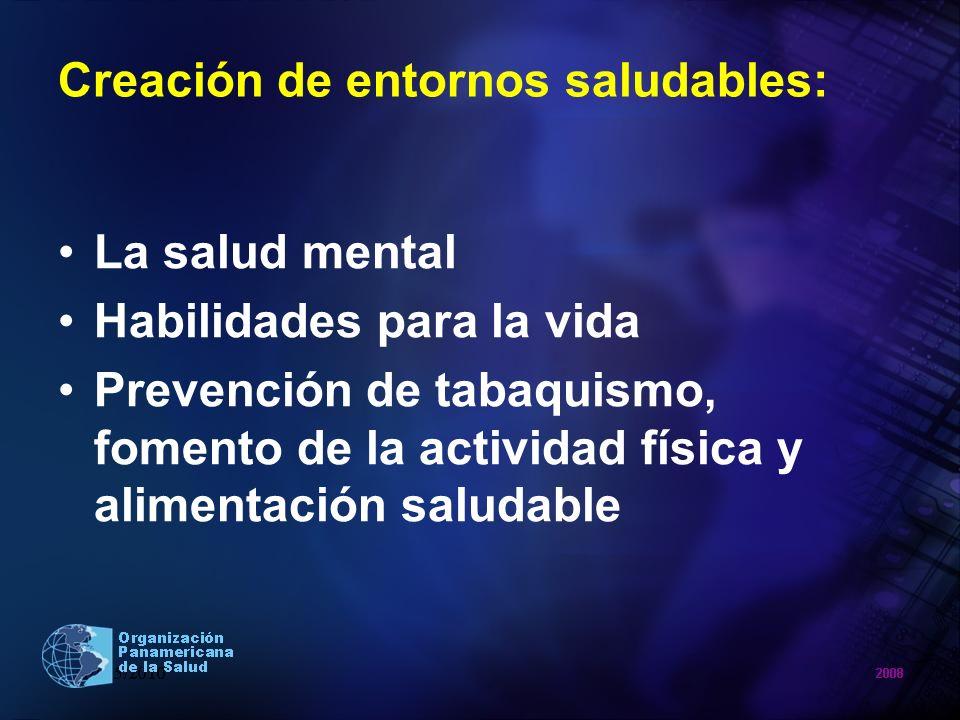 Creación de entornos saludables: La salud mental Habilidades para la vida Prevención de tabaquismo, fomento de la actividad física y alimentación salu