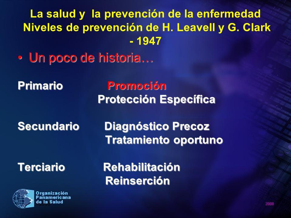La salud y la prevención de la enfermedad Niveles de prevención de H. Leavell y G. Clark - 1947 Un poco de historia…Un poco de historia… Primario Prom