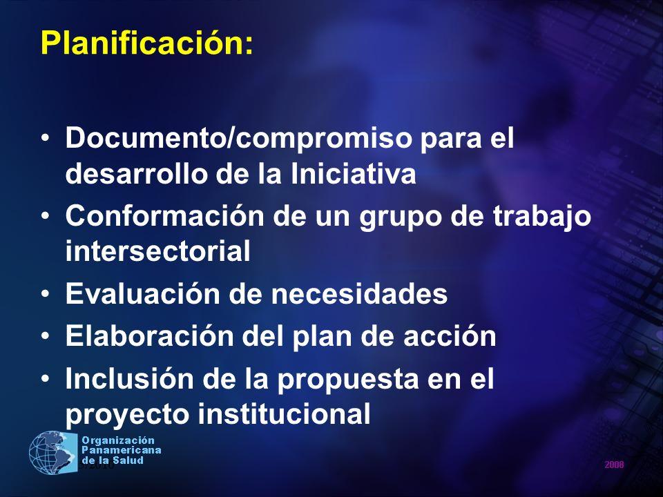 Planificación: Documento/compromiso para el desarrollo de la Iniciativa Conformación de un grupo de trabajo intersectorial Evaluación de necesidades E