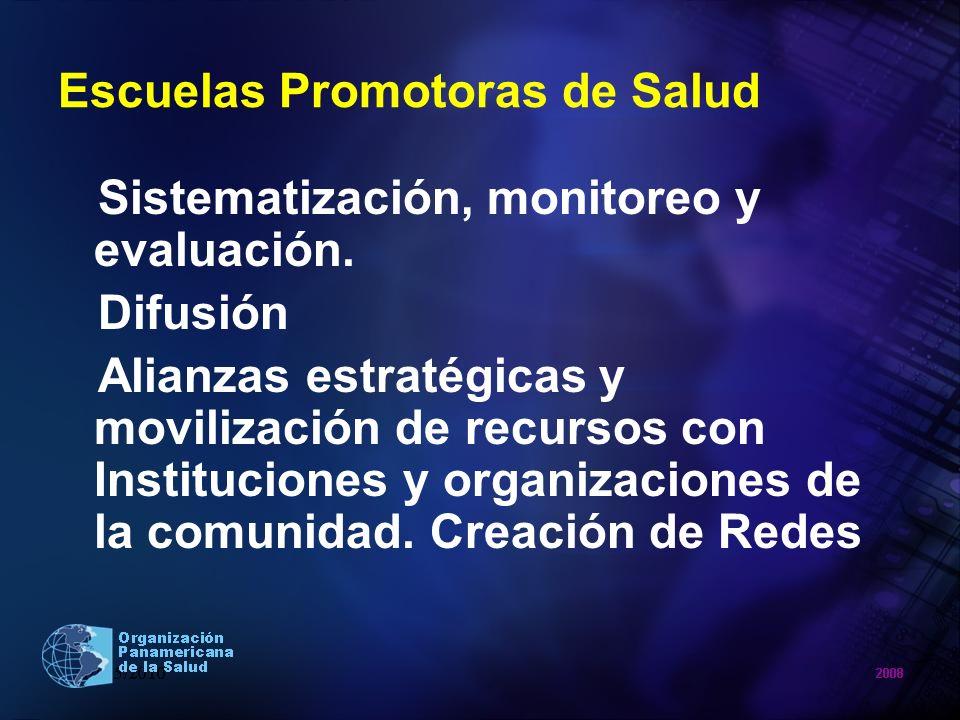 Escuelas Promotoras de Salud Sistematización, monitoreo y evaluación. Difusión Alianzas estratégicas y movilización de recursos con Instituciones y or