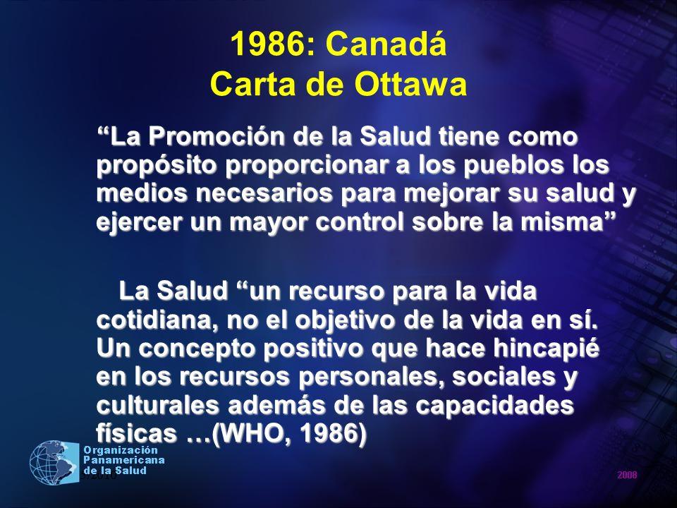 1986: Canadá Carta de Ottawa La Promoción de la Salud tiene como propósito proporcionar a los pueblos los medios necesarios para mejorar su salud y ej