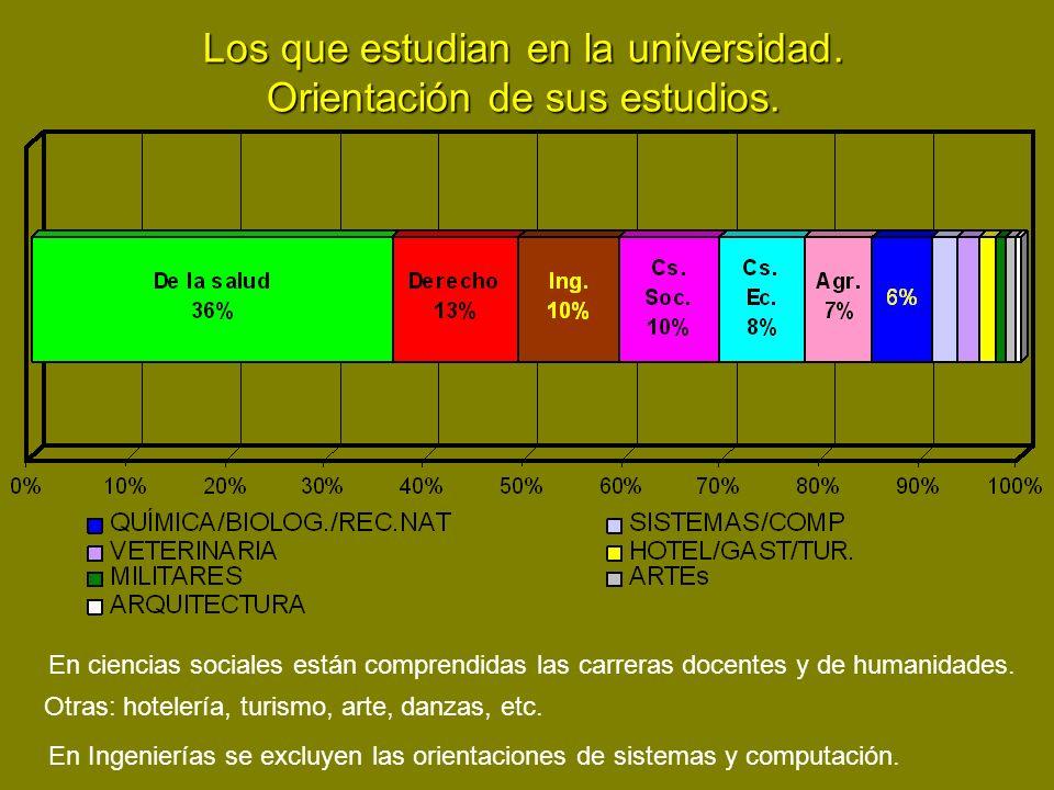 Los que estudian en la universidad. Orientación de sus estudios. En ciencias sociales están comprendidas las carreras docentes y de humanidades. Otras