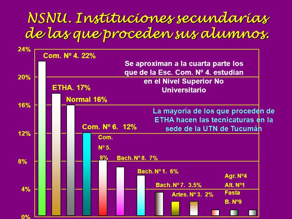 NSNU. Instituciones secundarias de las que proceden sus alumnos. ddss 0% 4% 8% 12% 16% 20% 24% Com. Nº 4. 22% Normal 16% Com. Nº 6. 12% Com. Nº 5. 8%