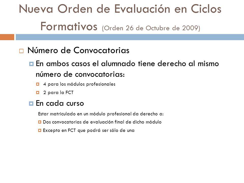 Nueva Orden de Evaluación en Ciclos Formativos (Orden 26 de Octubre de 2009) Número de Convocatorias En ambos casos el alumnado tiene derecho al mismo