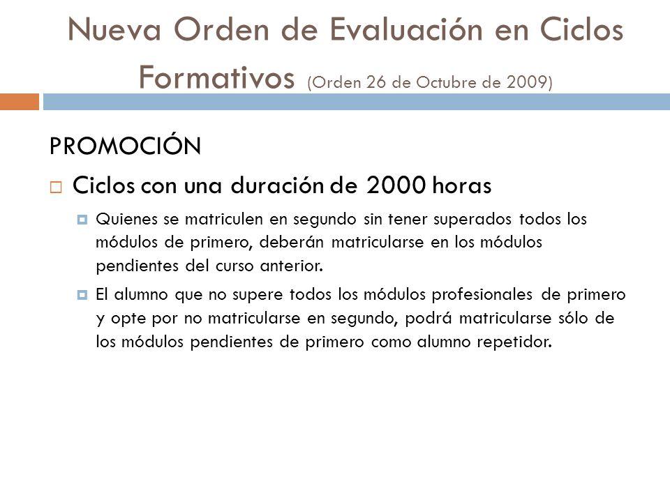 Nueva Orden de Evaluación en Ciclos Formativos (Orden 26 de Octubre de 2009) PROMOCIÓN Ciclos con una duración de 2000 horas Quienes se matriculen en