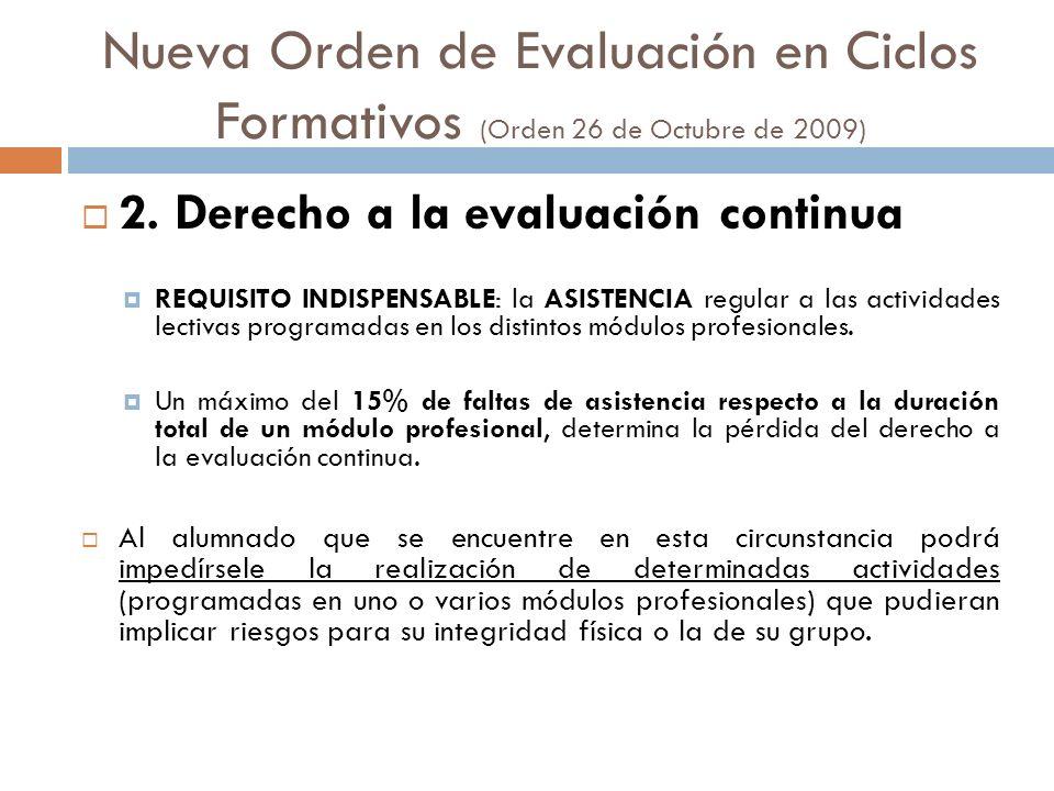 Nueva Orden de Evaluación en Ciclos Formativos (Orden 26 de Octubre de 2009) 2. Derecho a la evaluación continua REQUISITO INDISPENSABLE: la ASISTENCI