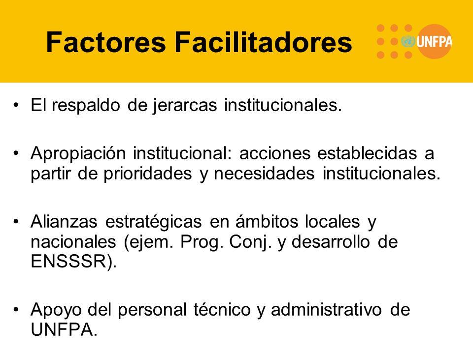 Factores Facilitadores El respaldo de jerarcas institucionales. Apropiación institucional: acciones establecidas a partir de prioridades y necesidades