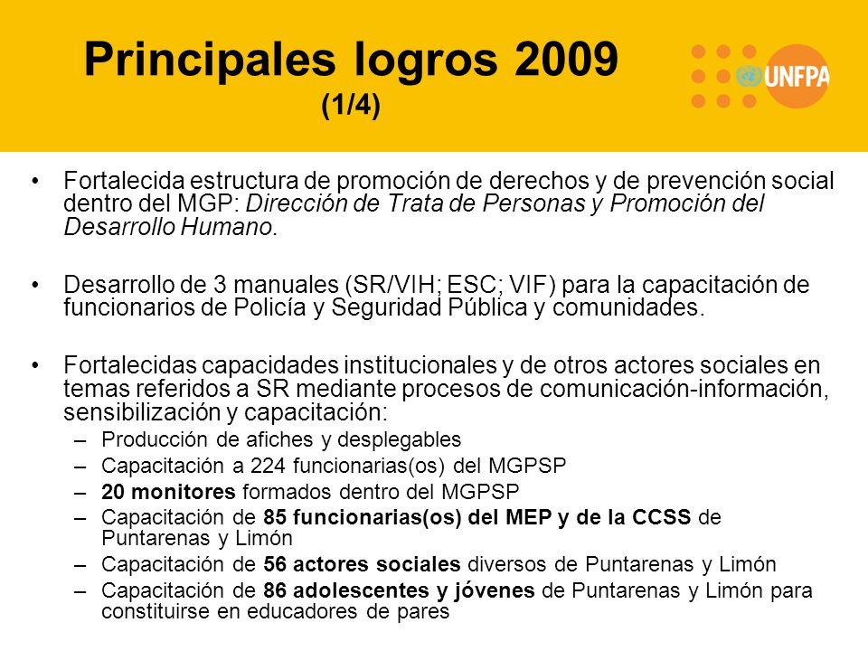 Principales logros 2009 (1/4) Fortalecida estructura de promoción de derechos y de prevención social dentro del MGP: Dirección de Trata de Personas y Promoción del Desarrollo Humano.