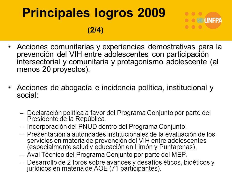 Principales logros 2009 (2/4) Acciones comunitarias y experiencias demostrativas para la prevención del VIH entre adolescentes con participación intersectorial y comunitaria y protagonismo adolescente (al menos 20 proyectos).