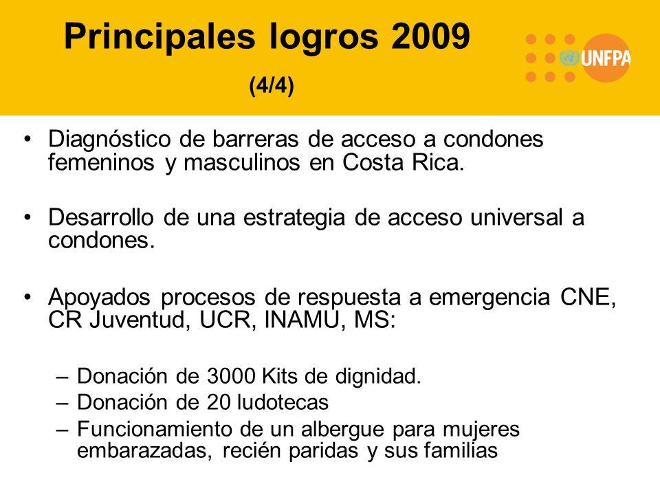 Principales logros 2009 (4/4) Diagnóstico de barreras de acceso a condones femeninos y masculinos en Costa Rica. Desarrollo de una estrategia de acces
