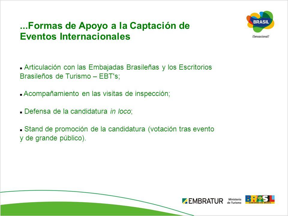 ...Formas de Apoyo a la Captación de Eventos Internacionales Articulación con las Embajadas Brasileñas y los Escritorios Brasileños de Turismo – EBT's