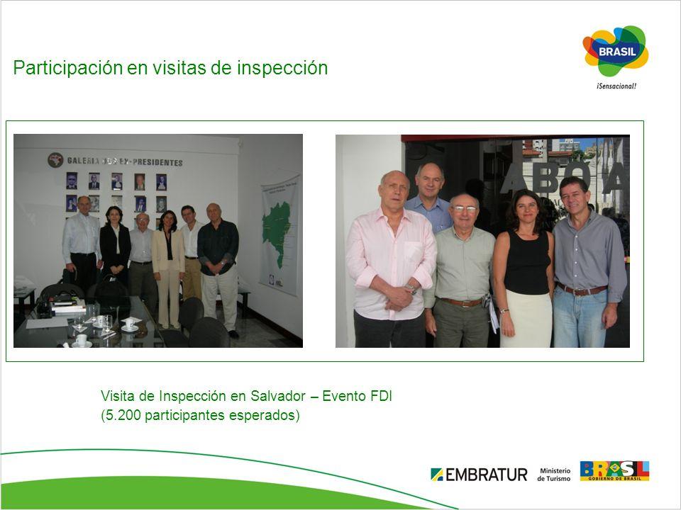 Participación en visitas de inspección Visita de Inspección en Salvador – Evento FDI (5.200 participantes esperados)