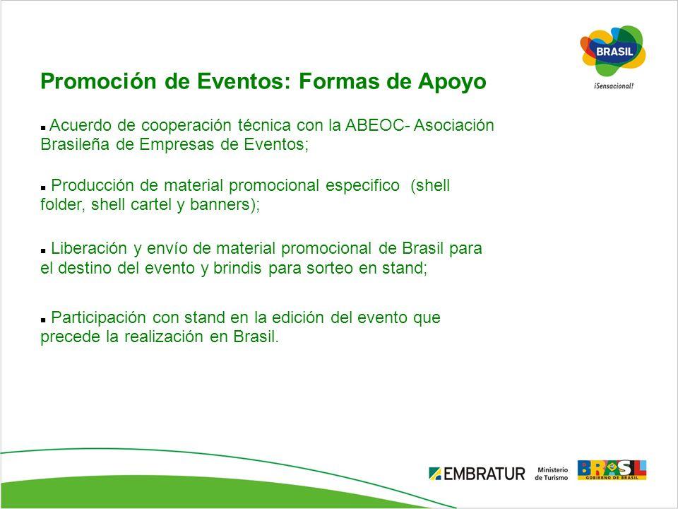 Promoción de Eventos: Formas de Apoyo Acuerdo de cooperación técnica con la ABEOC- Asociación Brasileña de Empresas de Eventos; Producción de material