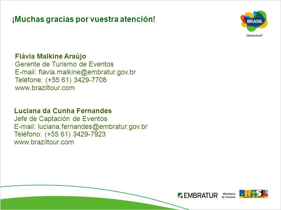 Luciana da Cunha Fernandes Jefe de Captación de Eventos E-mail: luciana.fernandes@embratur.gov.br Teléfono: (+55 61) 3429-7923 www.braziltour.com ¡Muc
