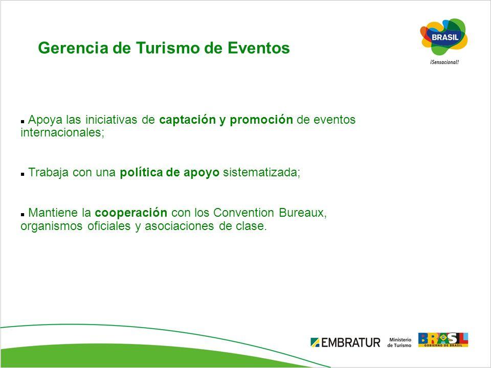 Gerencia de Turismo de Eventos Apoya las iniciativas de captación y promoción de eventos internacionales; Trabaja con una política de apoyo sistematiz